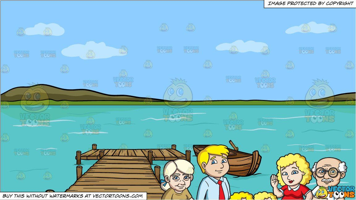 clipart #cartoon A Charming Family Of Six and A Long Wooden.