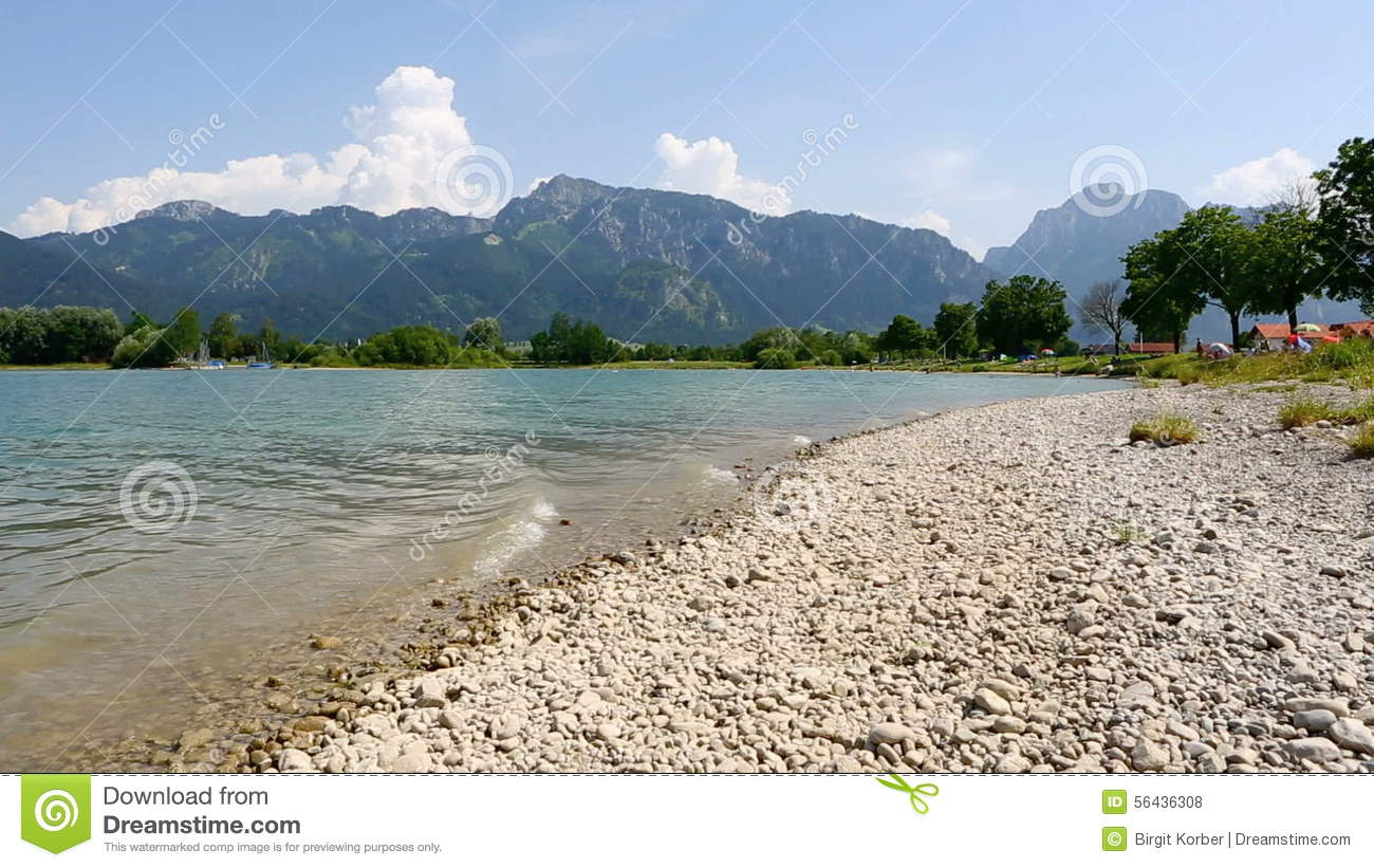 Bavarian Lake Forggensee In Summer Stock Footage.
