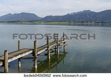 """Stock Photo of """"Jetty on Forggensee Lake, near Rieden am."""