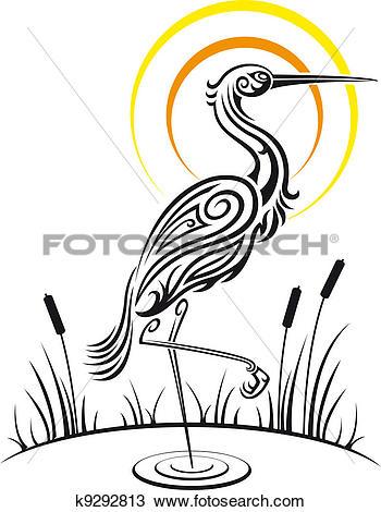 Clipart of Heron bird on the lake k9292813.