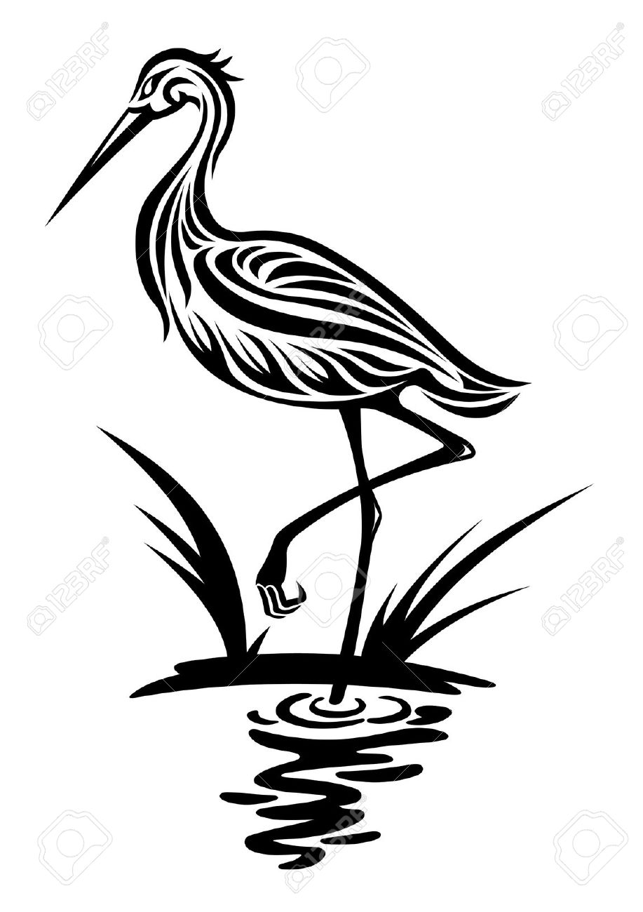 Heron Bird In Silhouette Style For Environment Design Royalty Free.