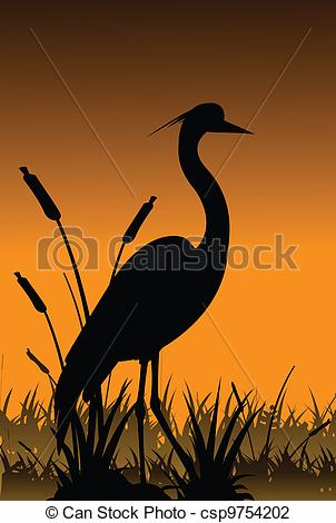 Vector Illustration of silhouette of heron and lake.
