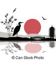 Vector Illustration of heron silhouette on lake.