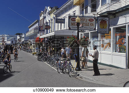 Stock Photograph of Mackinac Island, MI, Lake Huron, Michigan.