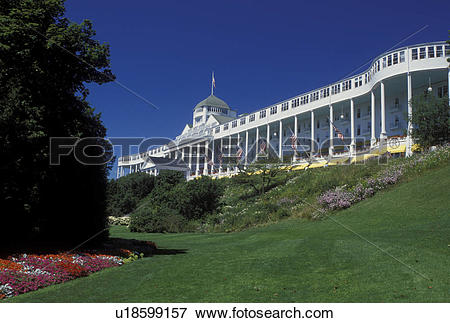 Picture of Grand Hotel, Mackinac Island, MI, Lake Huron, Michigan.