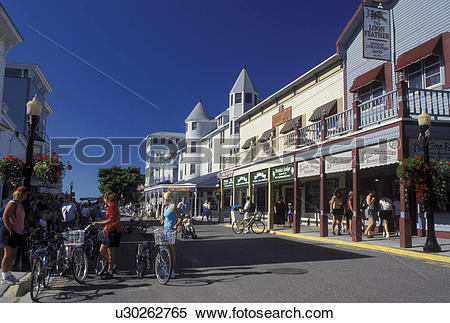 Stock Image of Mackinac Island, MI, Lake Huron, Michigan, Main.