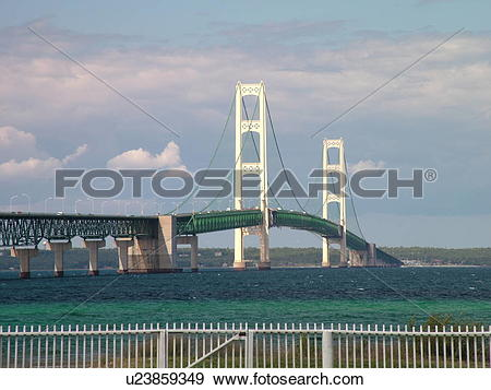 Stock Photograph of Mackinaw City, MI, Michigan, Lake Michigan.