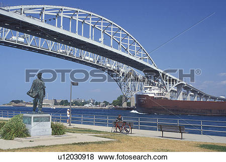 Pictures of steel bridge, Port Huron, MI, Lake Huron, Michigan.