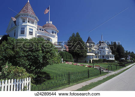 Stock Photo of Mackinac Island, MI, Lake Huron, Michigan, Historic.