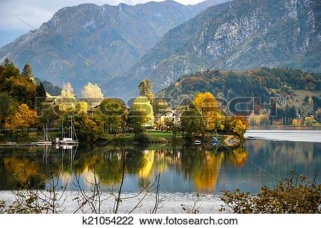 Stock Photo of Scenic autumn view over Lago d'Idro Italy k21054222.