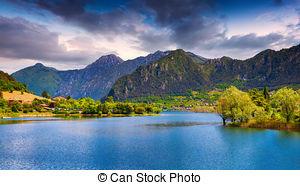 Stock Photos of Idro lake in autumn, Brescia, Italy csp31746233.