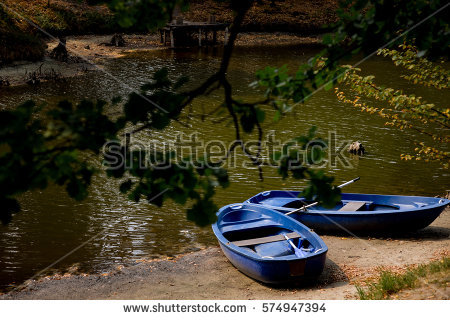Two Boats On Shore Lake River Stock Photo 574947388.