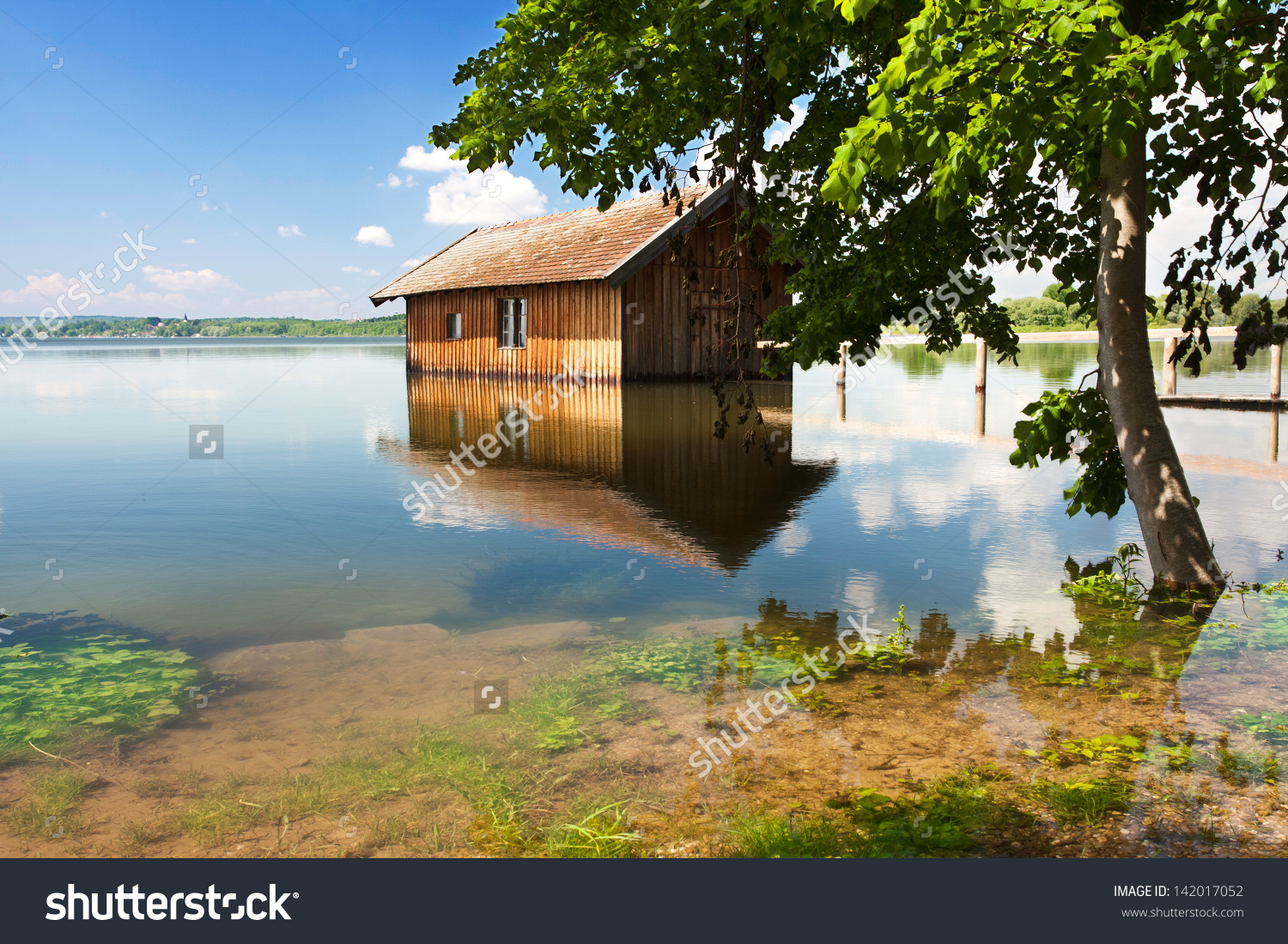 Old Wooden Fisherman House Lake Scenic Stock Photo 142017052.