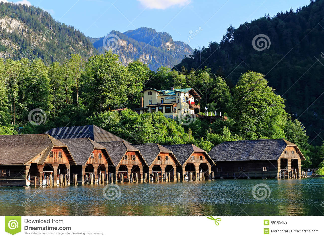 Harbor Idyll Of Mountain Lake Königssee With Cafe Malerwinkel.