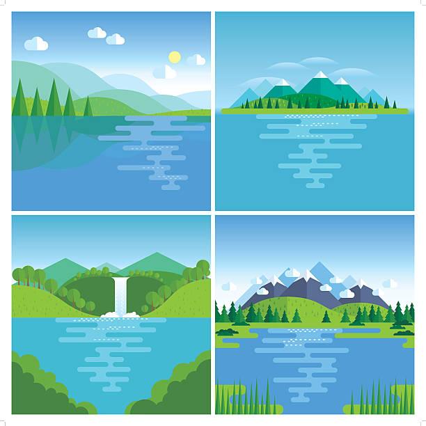 Best Lake Illustrations, Royalty.