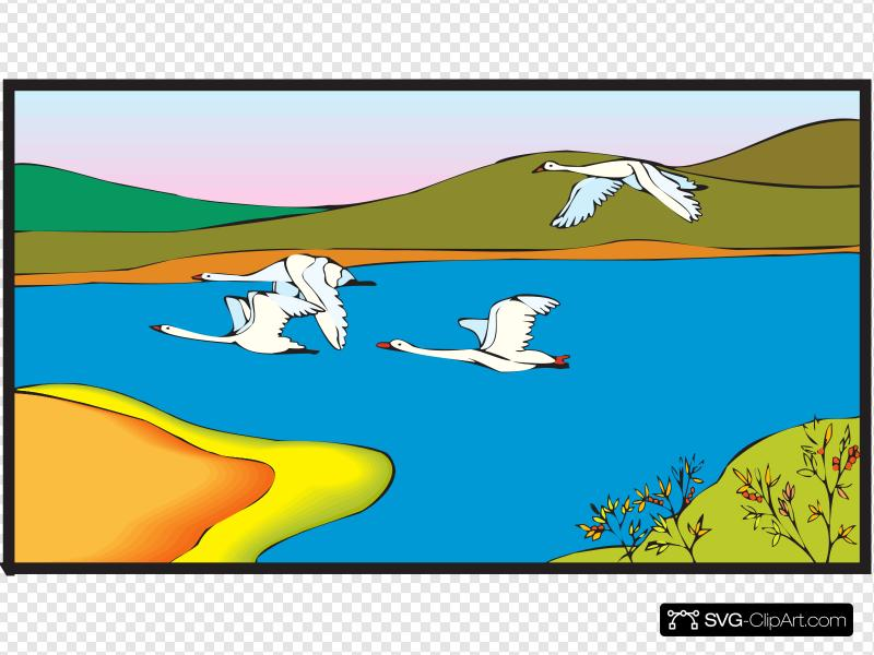 Geese Flying Over A Lake Clip art, Icon and SVG.