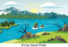Mountain Lake Clip Art Background.