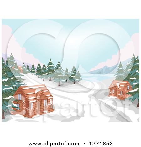 Clipart of a Lake with Evergreens, Snow and Winter Cabins.