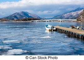 Stock Photos of Boats on the lake Kawaguchiko,Japan csp36343038.