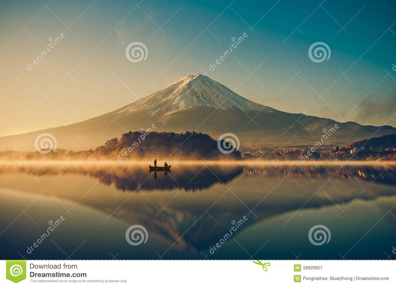 Mount Fuji At Lake Kawaguchiko,Sunrise , Vintage Stock Photo.