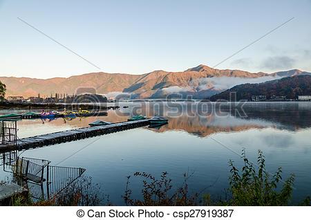 Pictures of Gangplank at Lake Kawaguchi in the morning Kawaguchi.