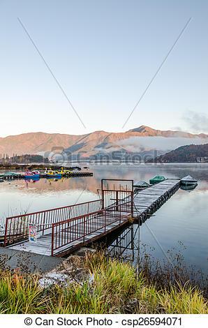 Picture of Gangplank at Lake Kawaguchi in the morning Kawaguchi.
