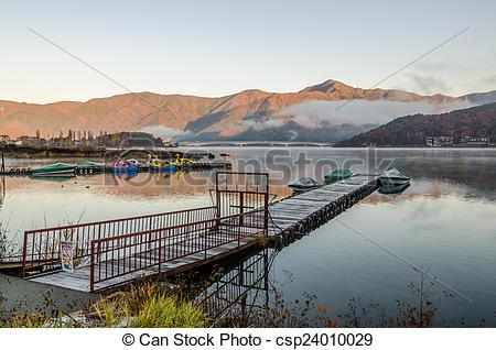 Stock Photo of Gangplank at Lake Kawaguchi in the morning.