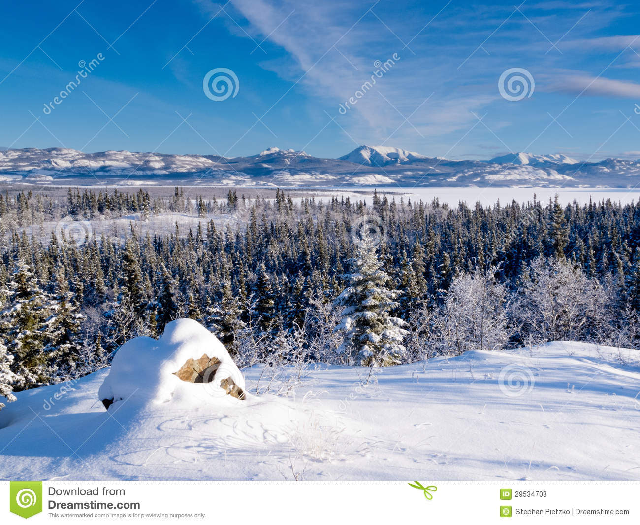 Frozen Lake Laberge Winter Landscape Yukon Canada Royalty Free.