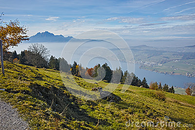 Mount Pilatus On Lake Lucerne In Switzerland Stock Photo.