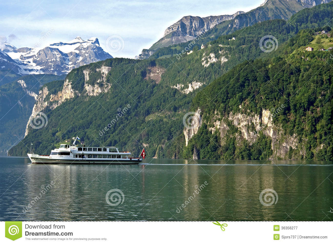 Swiss Alps Mountain Landscape And Lake Lucerne Royalty Free Stock.