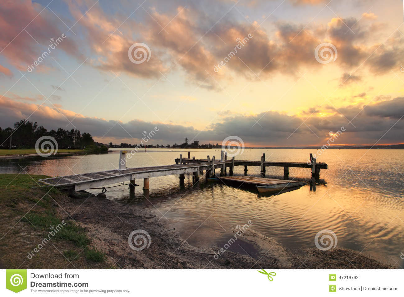Sunset At Belmont, Lake Macquarie, NSW Australia Stock Image.