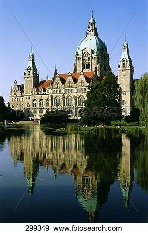 Stock Photograph of New town hall building at waterfront, Neues.
