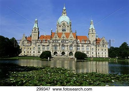 Picture of New town hall building at waterfront, Neues Rathaus.