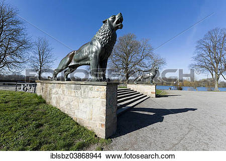 "Stock Photo of ""The Lion Bastion on the eastern shore of Maschsee."
