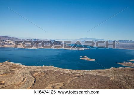 Stock Image of Lake Mead Aerial View k16474125.