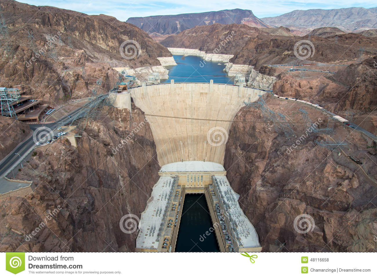 Hoover Dam And Lake Mead In Las Vegas Area Stock Photo.