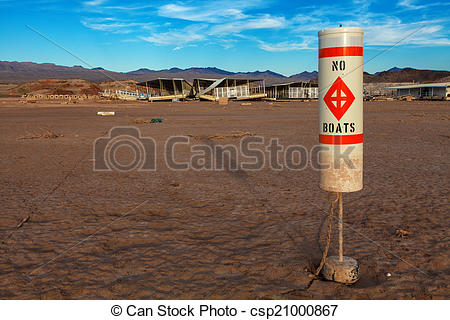 Stock Image of Colorado River and Lake Mead Drought Water Level.