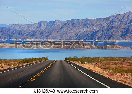 Stock Photo of Drive to Lake Mead k18126743.