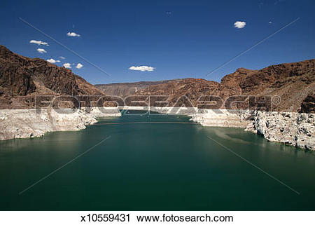 Stock Photography of Water line at Hoover Dam/ Lake Mead.