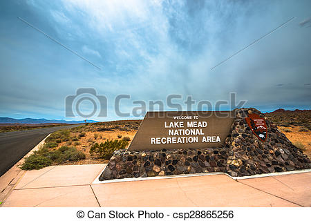 Stock Images of Lake Mead National Recreation Area entrance sign.