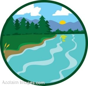 Lake in the Mountains Icon Clip Art.