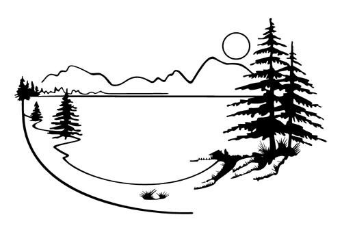 Lake Mountain Scenery Clip Art.