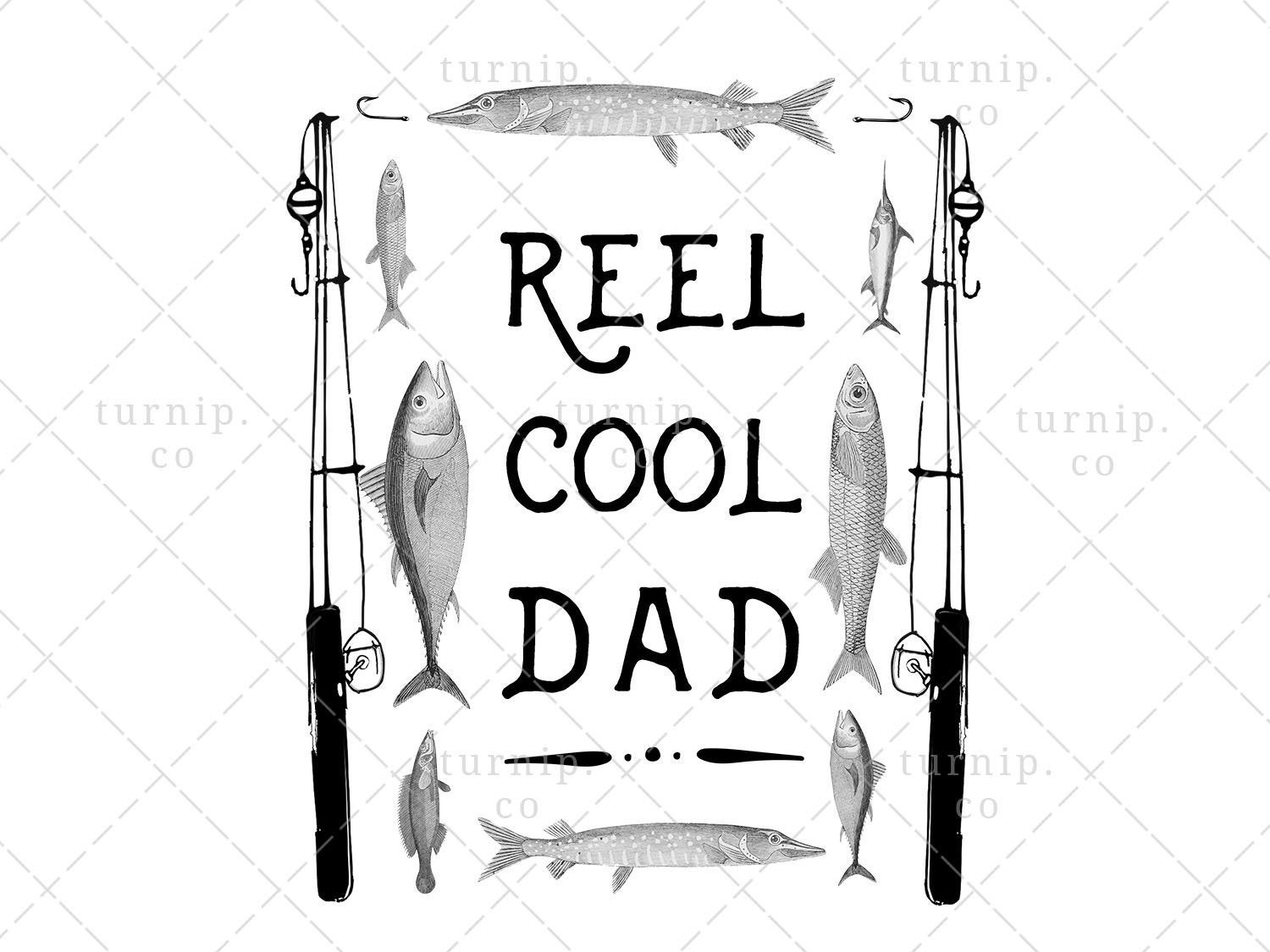Reel Cool Dad PNG Fishing Sublimation Clipart Graphic by.
