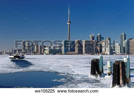Stock Image of Wards Island Ferry returning to Toronto in winter.