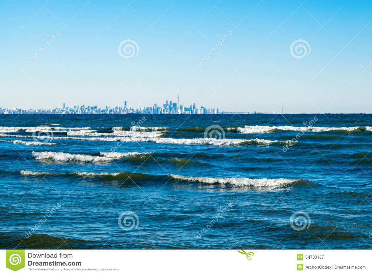 Toronto Skyline Panorama With Lake Ontario Stock Photo.
