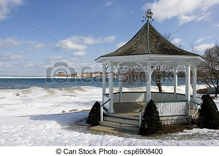 Stock Photography of Gazebo in Winter Near Lake Ontario.