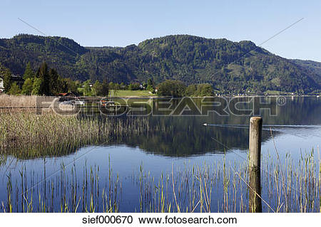 Stock Photography of Austria, Carinthia, Ossiach, View of Ossiach.