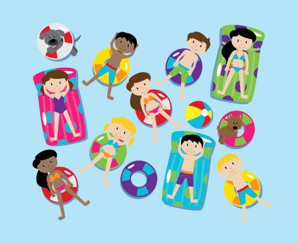 Pool Party or Lake Party Vector Set, Including Children and.