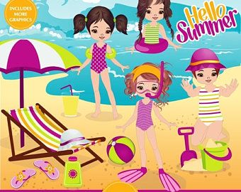 ON SALE pool party clipart.