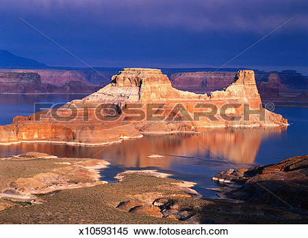 Stock Image of Gunsight Butte on Lake Powell in Page, Arizona.